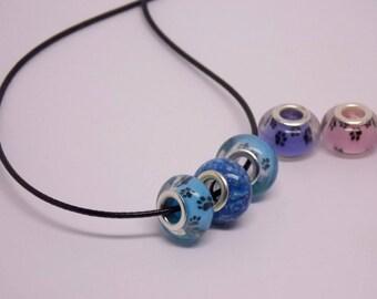 pet memorial beads, cremation jewelry, pet ashes bead, memorial bead pendant necklace, pandora charm, cremation bead, european bead, cat,