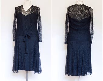 vintage 1920s black lace drop waist dress / vintage 20s 30s bias dramatic sheer dinner dress / L