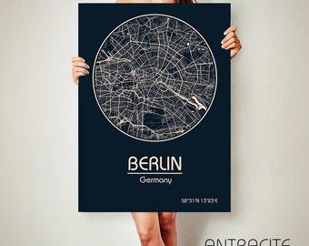 BERLIN Germany CANVAS Map Berlin Germany Poster City Map Berlin Germany Art Print Berlin Germany poster Berlin Germany map art  Berlin  map
