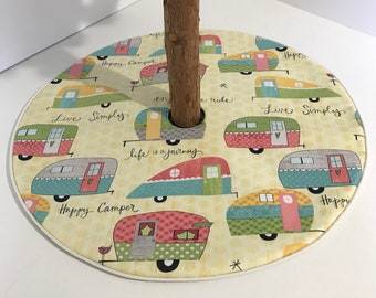 "Summer Camping Tree Skirt - 20.5""- Retro Happy Camper Teal Pink Yellow Hearts - custom made"