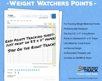 weight watchers tracking sheet