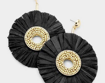 Raffia Disc Dangle Earrings - Gold/Black