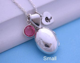 Small Locket Necklace, Personalized Sterling silver Oval Locket, Truly Heirloom Locket jewelry, Mothers gift, By Mony-Art R-9