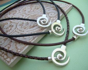 Leather Necklace, Men's Necklace, Women's Necklace, Antique Silver, Leather Necklace for Men, Tribal Necklace, Spiral Pendant Closure