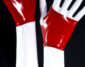 Fingerless latex GLOVES, contrast trim, mittens,infinite colour combinations available----ready to dispach