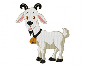Little goat embroidery, embroidery machine, NO PATCH, machine embroidery file, instant download, 4 Size