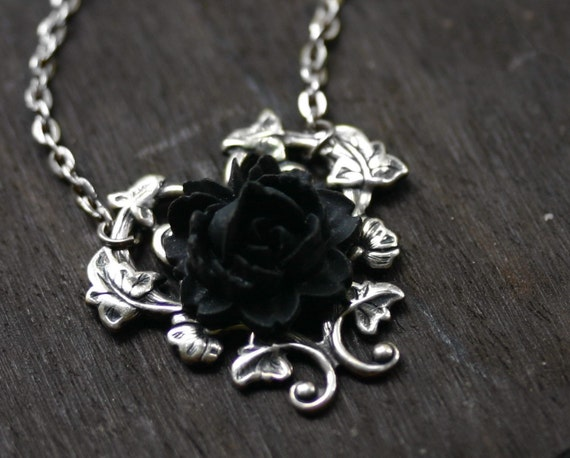 Black rose necklace gothic steampunk necklace aloadofball Images