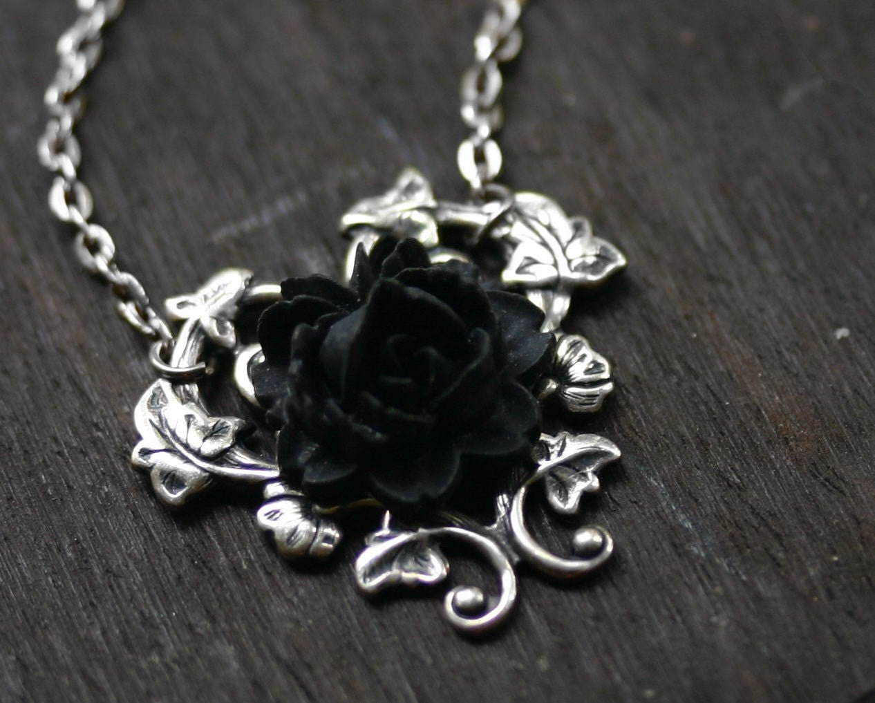 Black rose necklace gothic steampunk necklace ampliar aloadofball Choice Image