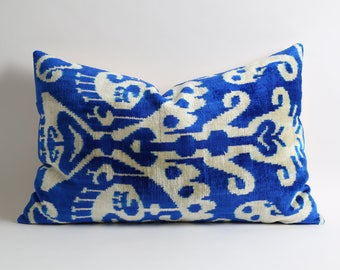 Uzbek handwoven hand dyed blue&white ikat velvet pillow cover 16x24 lumbar pillow