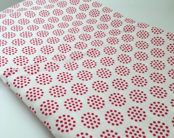 """Red and White Dot Fabric, 44"""" by 3 yds, cotton"""