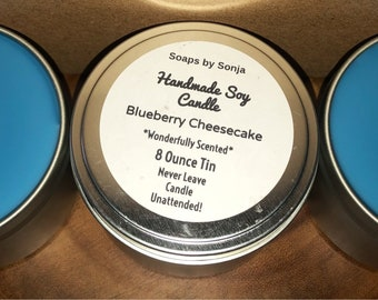 Blueberry Cheesecake Scented 8 ounce Candle Tin, blue candle, container candle, blueberry scent, metal tin candle