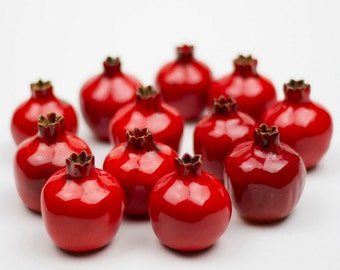 Wedding favors,Handmade ceramic pomegranate, red pomegranate, ceramic and pottery, wedding gifts for guests, ceramic wedding favor box, gift