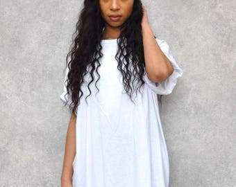White Ovesized Boyfriend T-Shirt Dress