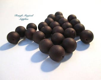 Dark Brown Beads, 9mm Round Vintage Lucite Beads, Chocolate Brown Matte Finish, Color Coated Plastic Beads 24 Pieces SP807