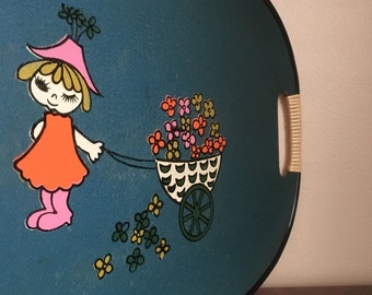 Vintage Oval Tray with Spring Scene.