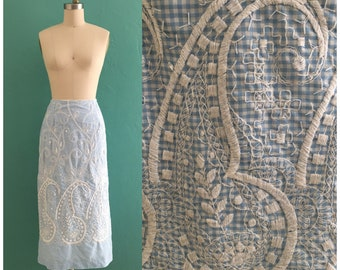 vintage 60's blue gingham embroidered skirt  // spring midi pencil skirt