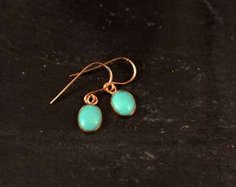 Rose Gold Oval Gemstone Dangle Earrings (Labradorite Turquoise Aqua Chalcedony Opal Moonstone Bridesmaid Wedding Gifts for Her Under 50)