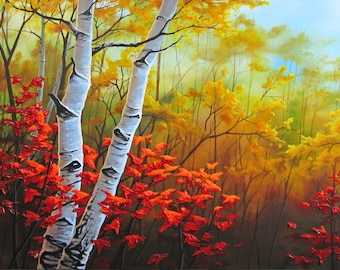 24x48 Original Autumn Birch Tree Forest, Heavy Texture Painting on Gallery Canvas by J. Mandrick