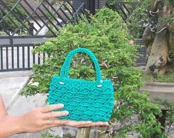 Hand Made Knitted Handbag yarn Green Bag New mode