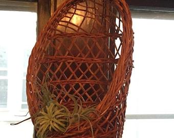 Vintage Wicker Plant Hanger - Hanging Planter