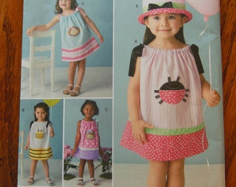 NEW UNCUT Simplicity #2383 Toddler Child Pillowcase Dress & Hat with Appliques - Sizes 1/2-4