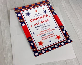 All Star Birthday Invitation 5x7 or 4x6, Digital, Printable File