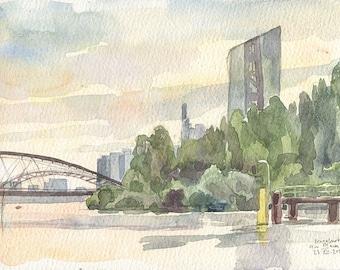 Frankfurt am Main, watercolor drawing - PRINT of pleinair watercolor drawing of Frankfurt,  by Catalina