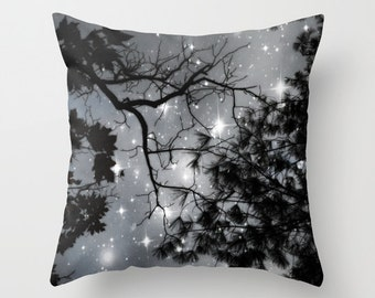 Trees Throw Pillow, Starry Night Pillow, Black & White Pillow, Decorative Pillow, Cushion, Night Sky, Whimsical, Stars, Dorm,Woodland,Nature