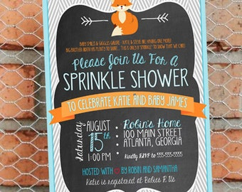 Fox Sprinkle Shower Invitation - Fox Themed Baby Sprinkle - Woodland Creatures - Baby Boy - Customize - Printable - 5x7 inch - Aqua Orange