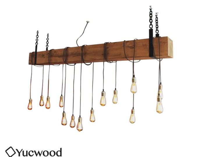 Featured listing image: Douglas Bar Chandler, Houten Hanglamp, Rustieke lamp, Industriële Hanglamp, Handgemaakt