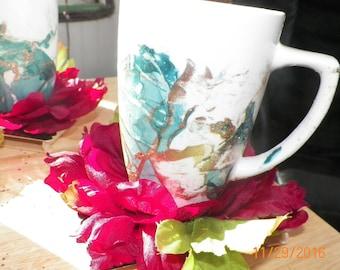 14 oz Mug, Marbleized with coaster