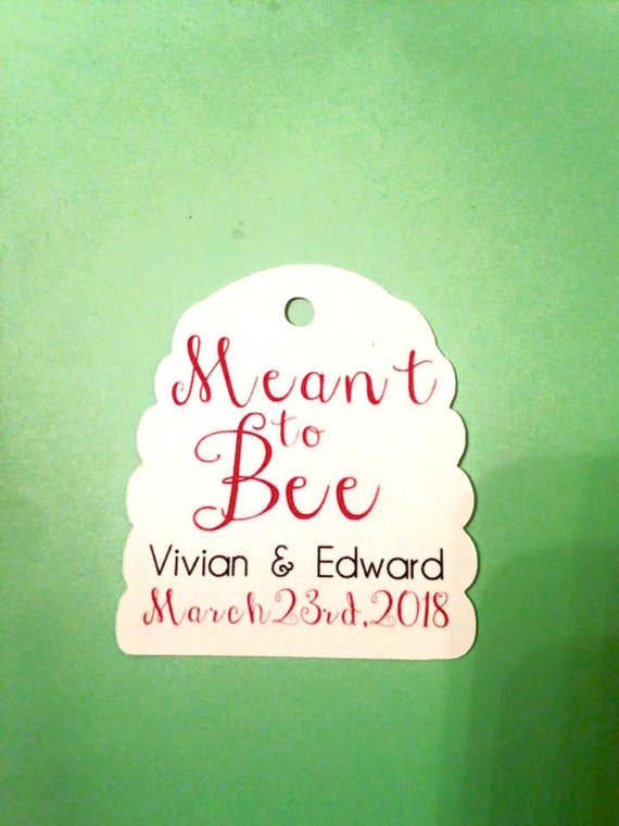 "Custom ""meant to be"" Beehive shape tags, honey, set of 12. Meant to Bee design, beehive shape die cut with names and date. honey jar favors"