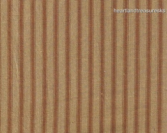 Dunroven House H 96 Primitive Style Homespun Brown Ticking Fabric