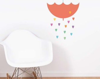 Umbrella Rain Removable Wall Sticker