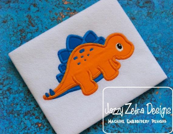 Stegosaurus Applique Embroidery Design - Dinosaur applique design - dino applique design