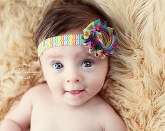 Shabby Chic Rainbow Chevron Headband, Baby Rainbow Headband, White or Rainbow Flower on Rainbow Chevron Elastic, Adorable Rainbow Headband