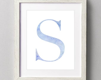 Letter S | Nursery Print | Nursery Art | Alphabet | Instant Download | Digital Print | Wall Art | Baby Boy | Initials | Blue | Watercolor