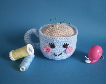 Teacup crochet pincushion