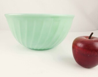 "Missing a Nesting Bowl? - Fire-King Jadeite Green - 9"" Mixing Bowls -  'Swirl' Pattern Bowl - Largest in 3 or 4 Bowl Set"