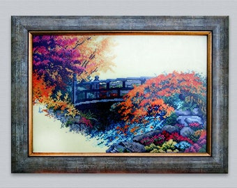Embroidered painting, handmade, cross stitch, pictur