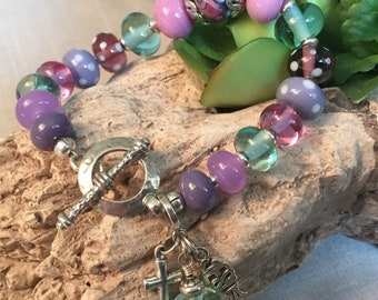 KEEP THE FAITH. artisan lampwork and sterling silver bracelet
