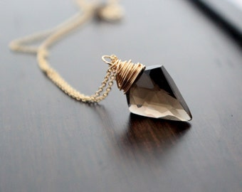 Arrowhead Necklace in Gold , Smoky Quartz Gemstone Pendant , Boho Jewelry , Gold Sterling Silver Rose Gold - Arrow