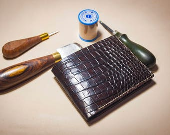 Alligator Wallet, Men's Leather Wallet., Personalized Leather Wallet, Perfect gift for him