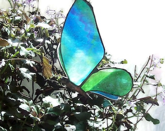 Stained Glass Butterfly, Hanging 3-D Suncatcher, Blue/Green, Colorful Art Glass,Home Decor,Symbol of Renewal, Sun Catcher,Ornament, Art