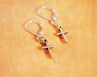 Petite Cross Earrings Teen Earrings Dangle Cross Pierced Earrings Spiritual Jewelry Christian Earrings Gift for Her CKDesignsUS
