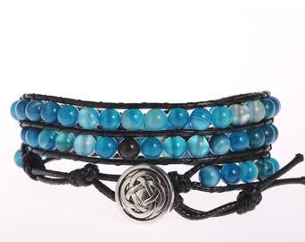6MM Blue Agate Beaded Wrap Bracelet Gemstone Leather Wrap Bracelet Leather Gemstone Wrap Bracelet Triple Wrap Bracelet Boho Beaded Bracelet
