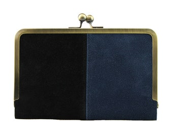 Hold All Leather Wallet in Navy & Black Suede