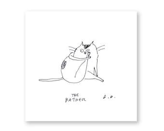 The Bather - Cat Print - Bathroom Art
