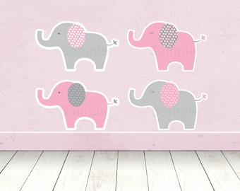Pink Elephant Cut Outs / Elephant Centerpiece / Wall Decor / Party Decor / Printable INSTANT DOWNLOAD A334