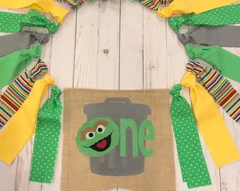 Oscar the grouch highchair banner / oscar the grouch  birthday / first birthday / Sesame Street highchair banner